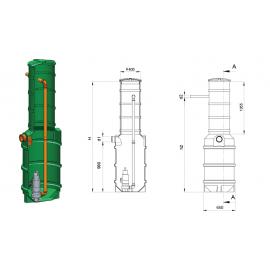 Studnia przepompowa - przepompownia PP 600-2200 250/440 litrów