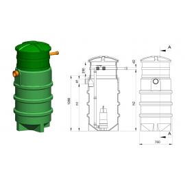 Studnia przepompowa - przepompownia PP 700 - 1280