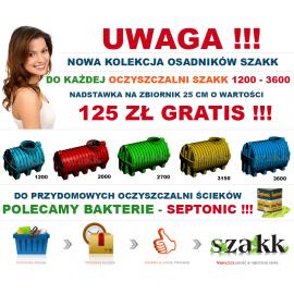 Oczyszczalnia ścieków SZAKK 2400 litrów z tunelami SZAKK 200 litrów 1N do 6 osób
